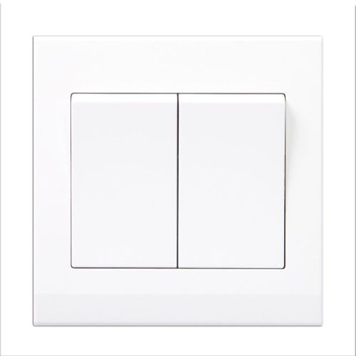 Simplicity White Screwless Rocker Light Switch 2 Gang 2 Way 07020